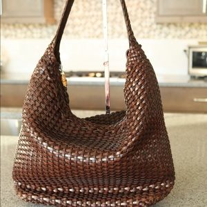 Gucci brown woven leather hobo bag